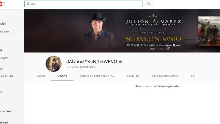 Desaparece página web de Julión Álvarez, también sus videos y música en YouTube y Spotify